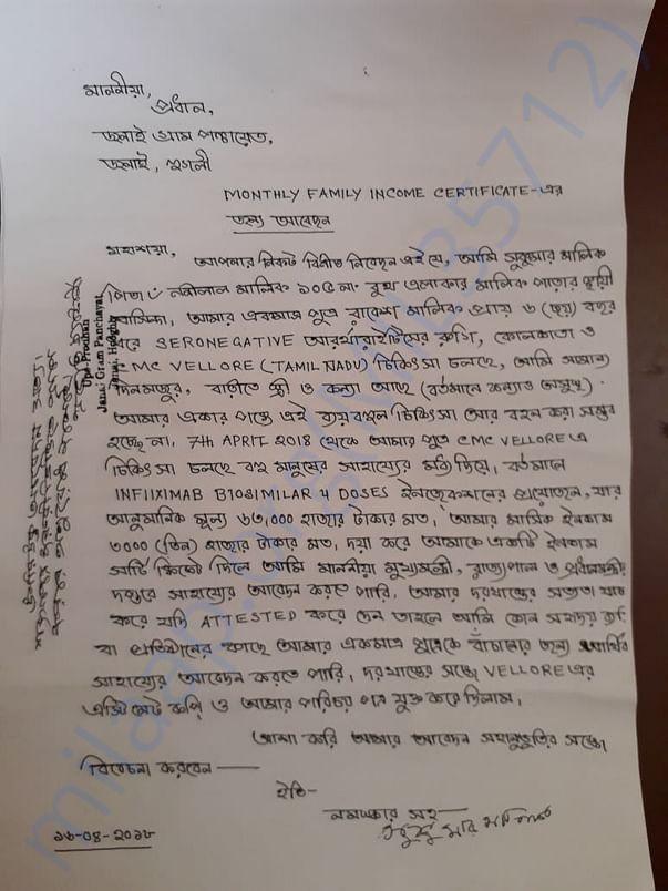 Application to Gram Panchayat for Help