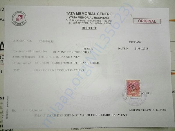 One of Hospital advance receipt