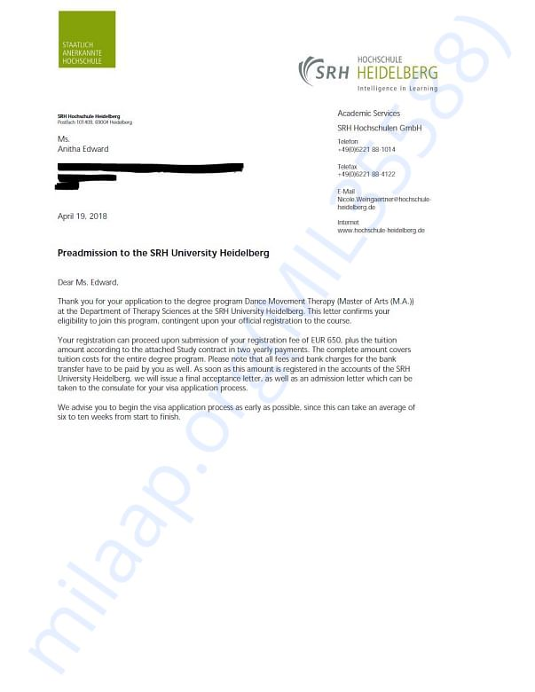 Letter of Acceptance from SRH University, Heidelberg, Germany