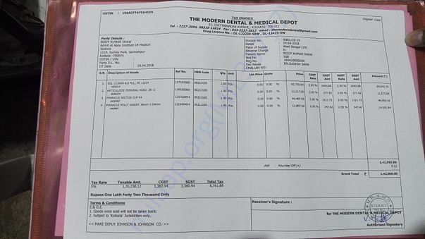 Bill for the prosthetic hip implant