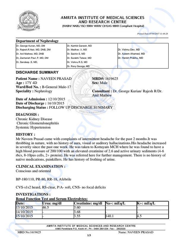 Discharge Sheet 2 Amrita