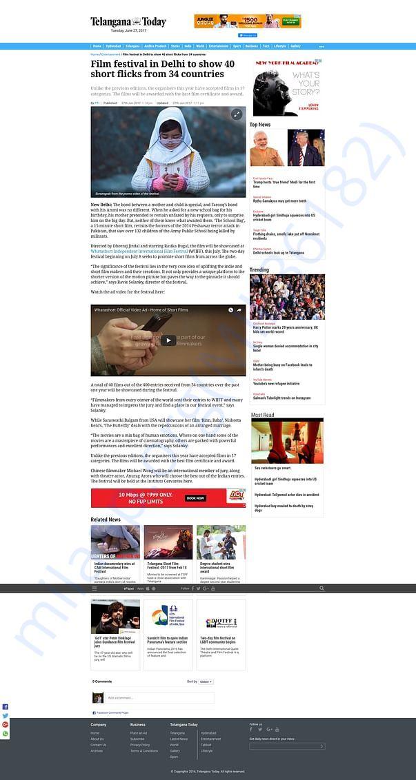 Article in Telangana Today