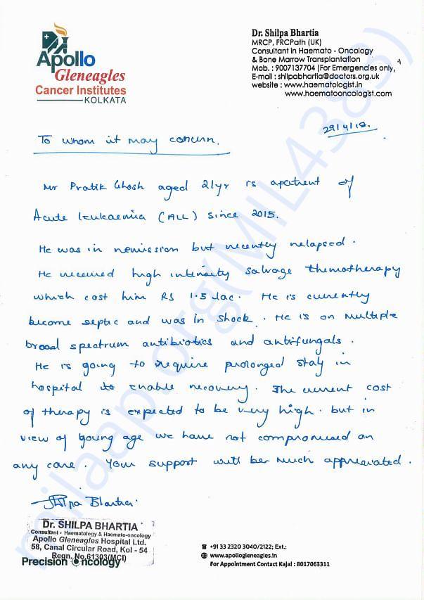 Doctor's Appeal for Pratik for lending help