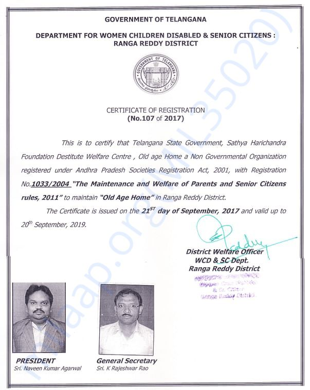 License by Government of Telangana to SHF Destitute Welfare Center