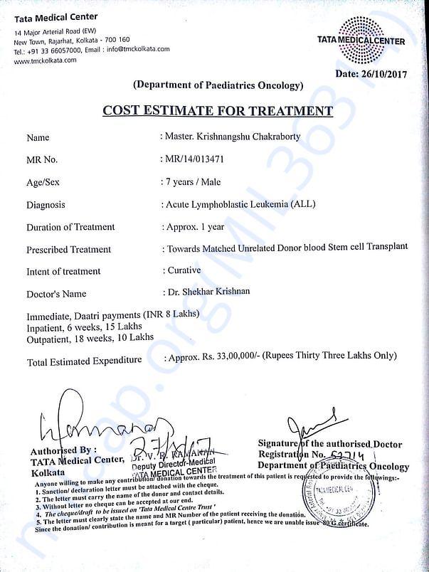Cost Estimate For My Son's Bone Marrow Transpant @ Tata Medical Center