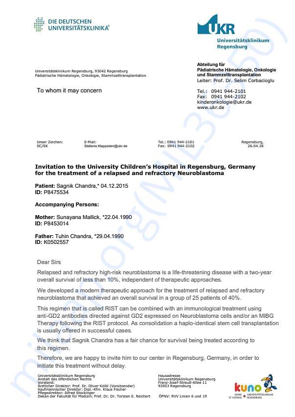 Invitation letter from Regensburg hospital