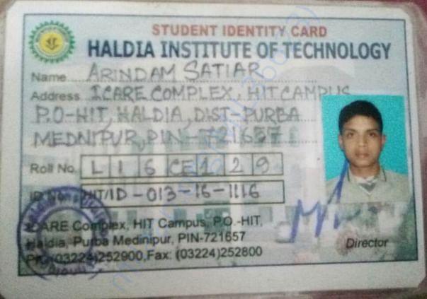 MY COLLEGE ID CARD OF HALDIA INSTITUTE OF TECHNOLOGY, (CIVIL)