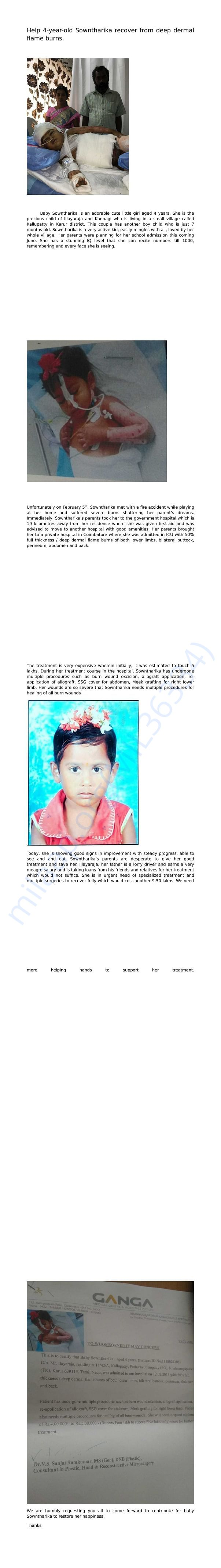Help 4-year-old Sowntharika recover from deep dermal flame burns