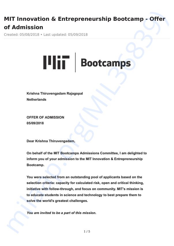 Letter of Admission to MIT Bootcamp