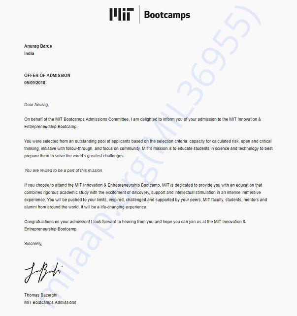 MIT Admit letter