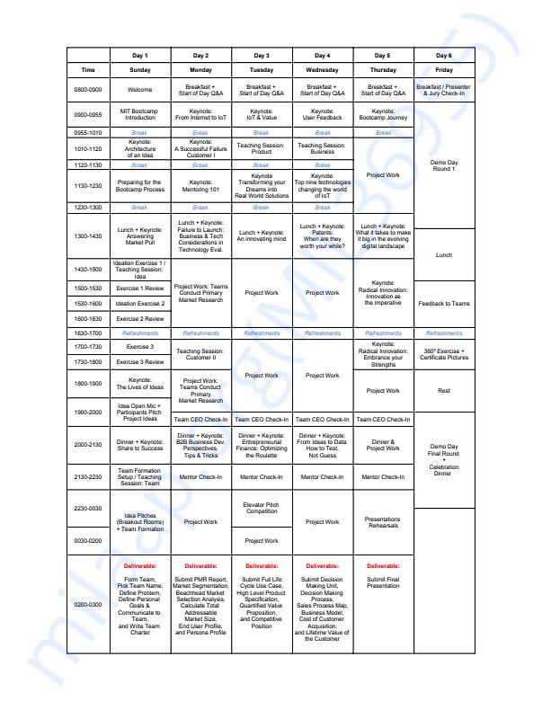 Sample Bootcamp schedule
