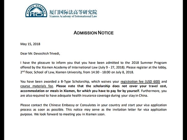 Help Me Attend Summer School At Xiamen Academy Of International Law