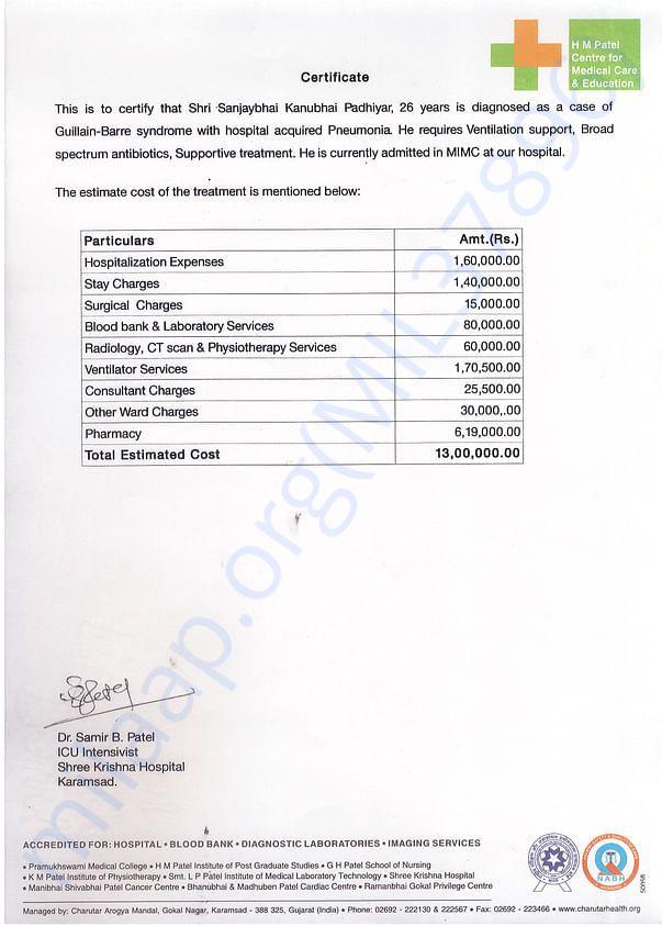 Estimated treatment Cost Certificate