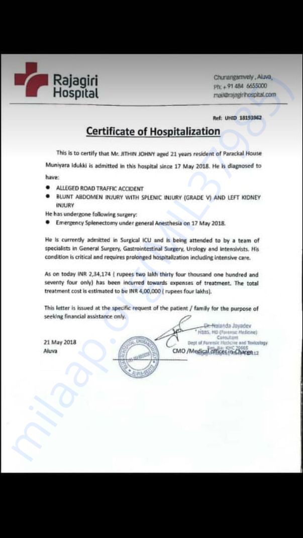 Doctor's certificate as on 21st May 2018