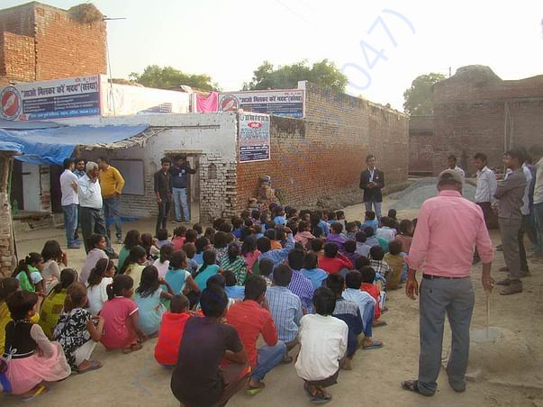 Children getting motivated by our founder Adv. Anurag Singh