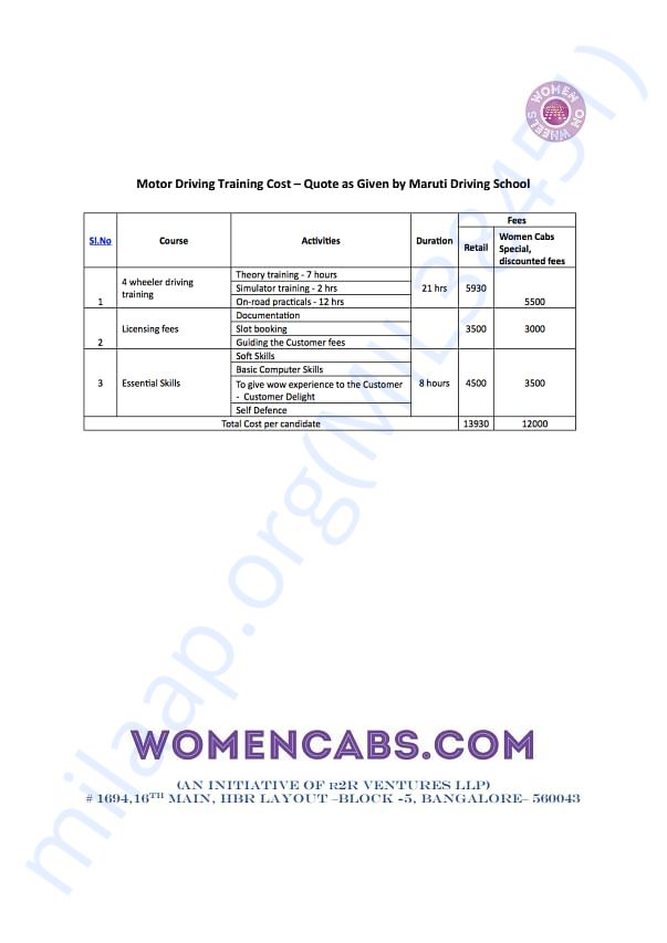 Motor Driving Training Cost Quote - Maruti Driving School