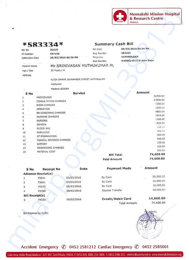 Invoice from 1st dialysis - 2016