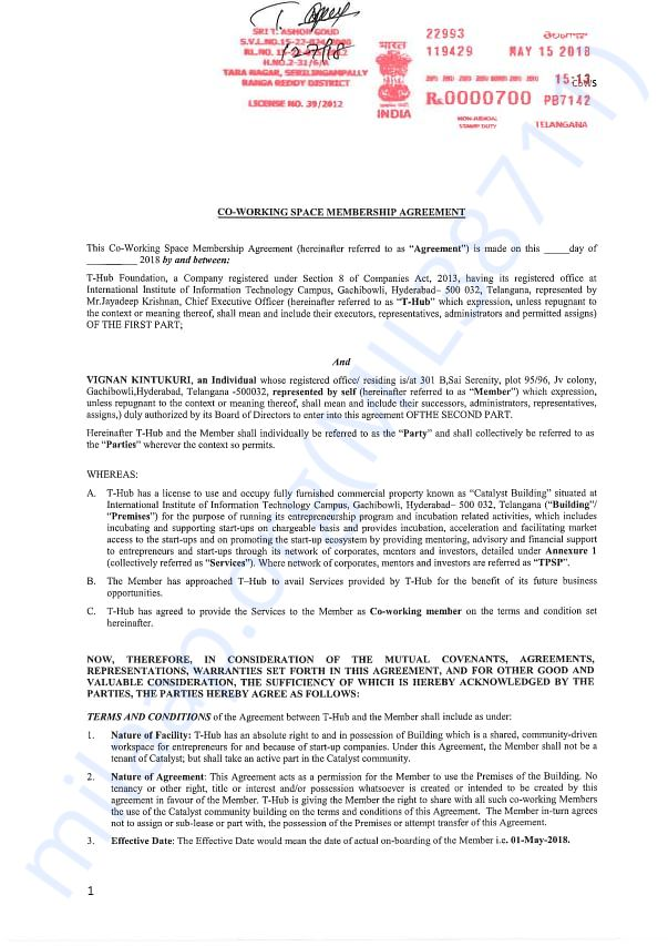This is the agreement between our startup and T-Hub.