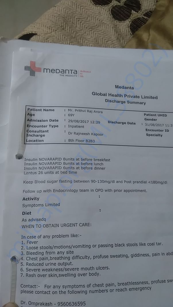 Later treated at Medanta.Discharge Summary from Medanta