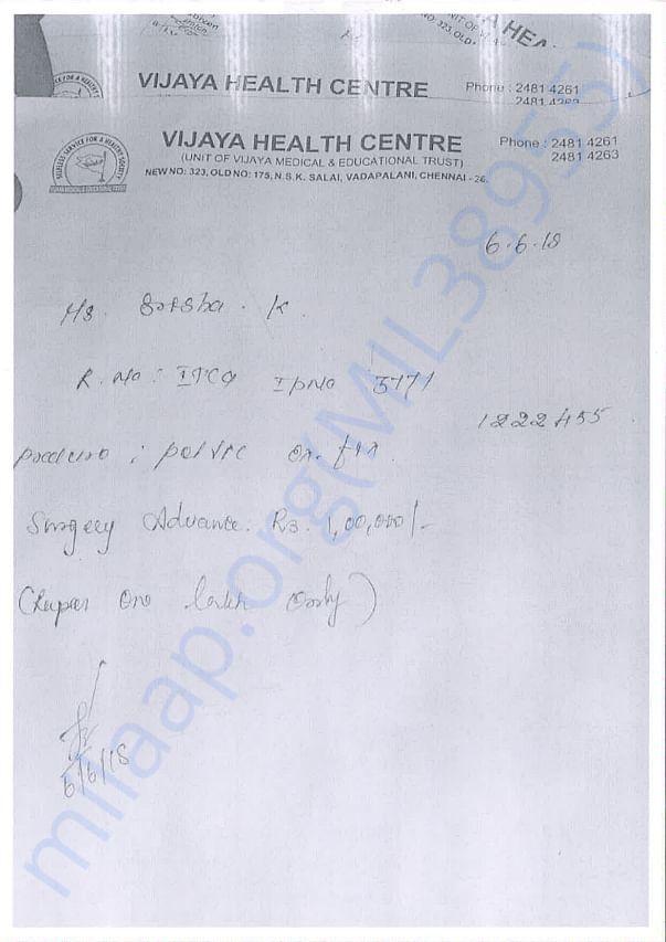 Hospital reports and bills of sireesha