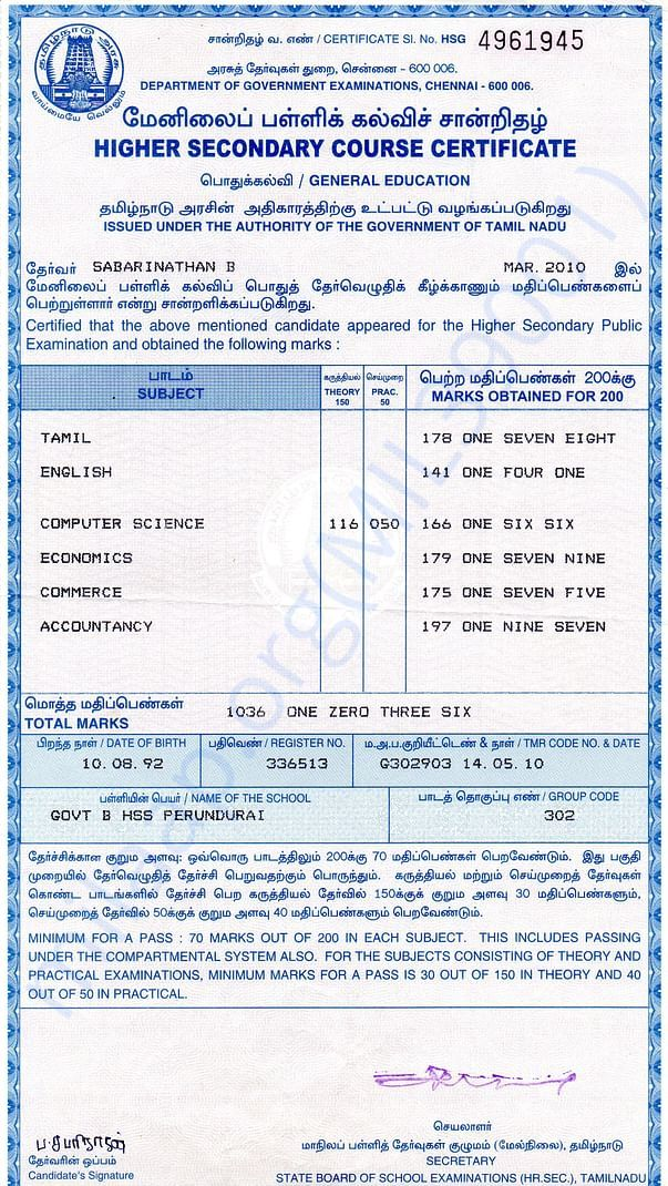 It is my HSC certificate, secured school 3rd positionm and 86%