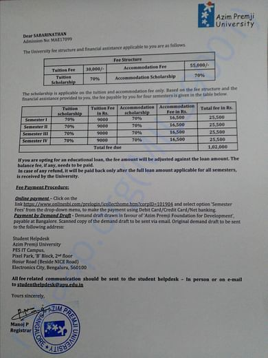 Semester fee is 25,500 (Including Tution fee, food and accommodation)