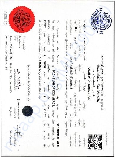 My UG degree completion certificate, I passed with first class.