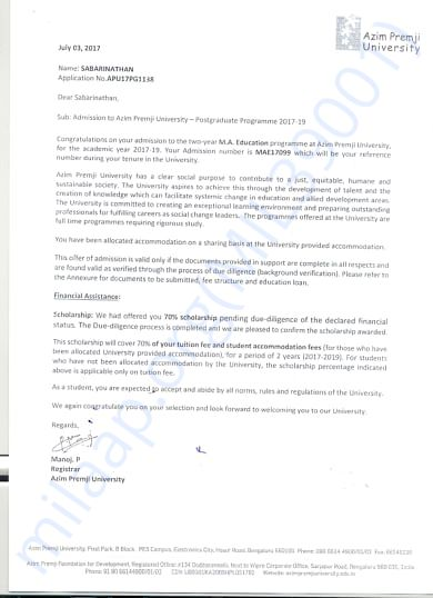 This is my course offer letter, I have got 70% scholarship.