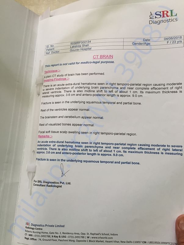 Pre operation CT Scan report from SRL Diagnostics