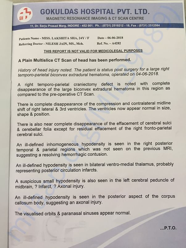 Post Operation report from Gokuldas Hospital