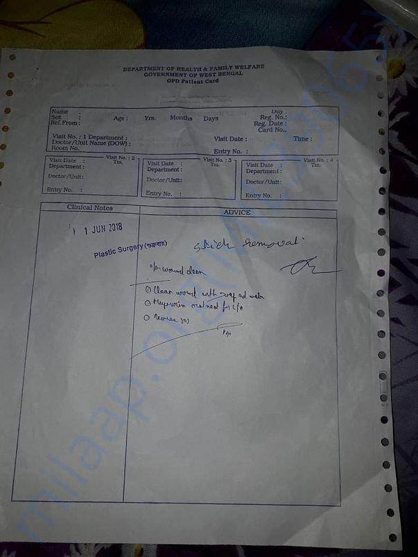 Govt. Hospital Treatment sheet