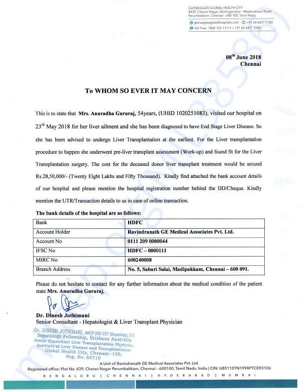 Estimate details from Global Hospital