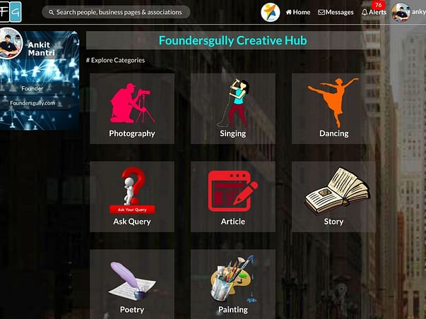 Indian's Creative Social Media Hub to give people a Creative Platform.