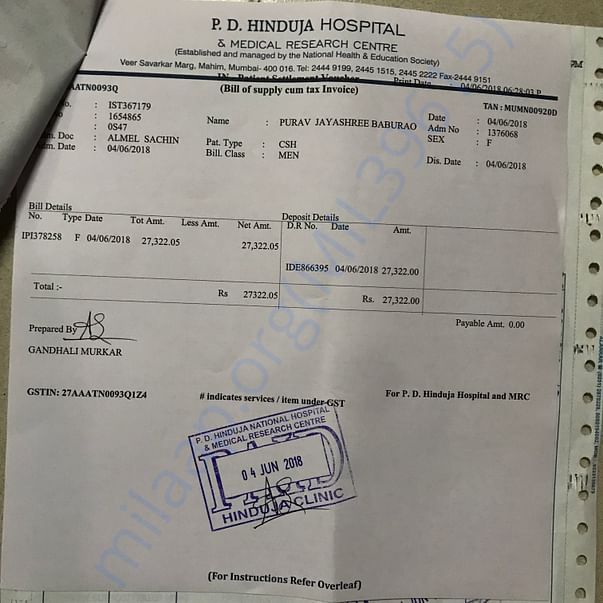 Hinduja Hospital Bill for first chemo on 4/6/2018