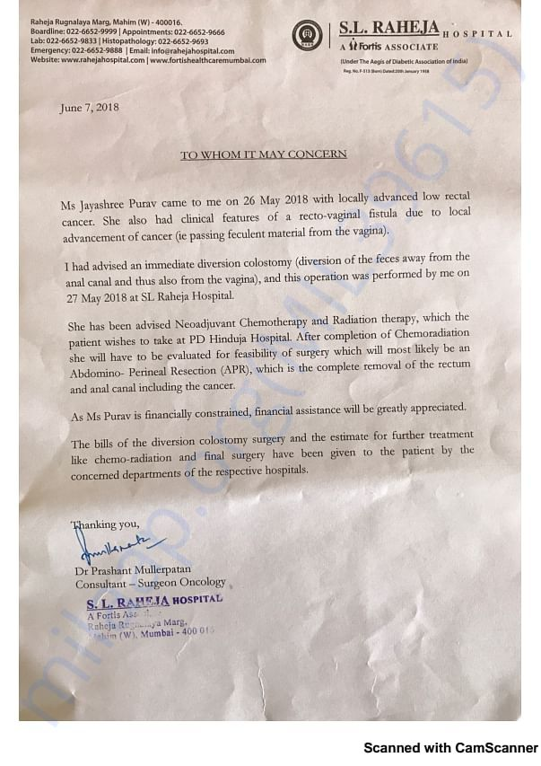 Doctor's letter for the course of treatment advised (S. L. Raheja)