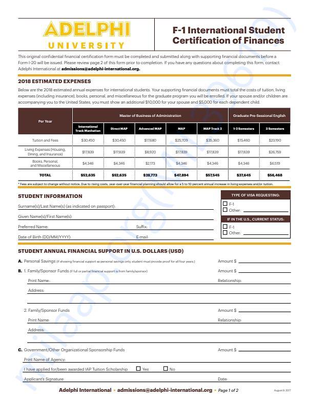 Adelphi university fee structure