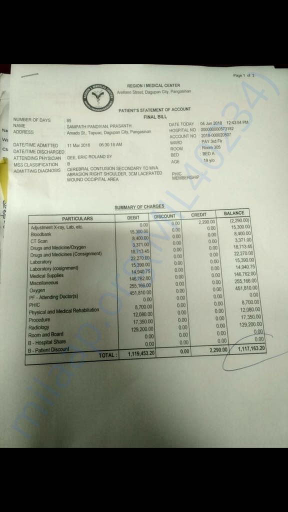 Hospital Bill until June 4