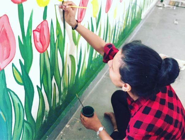 Team members painted craftroom of govt. school, jagdev kalan village