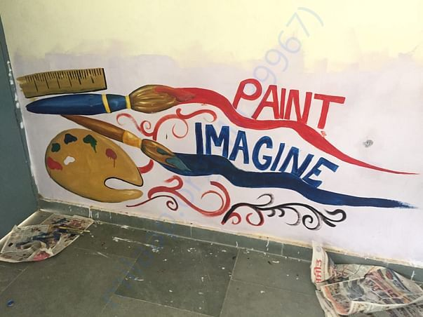 craftroom wall painted by members in government school