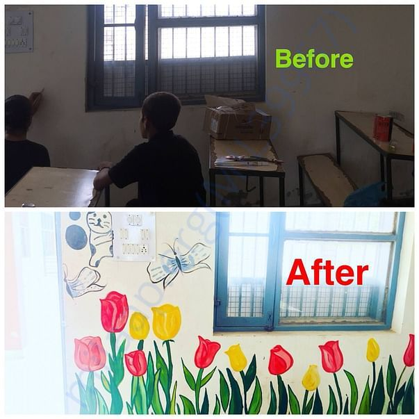 before and after sample of painted wall by team in govt. school, asr