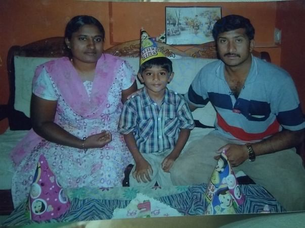 Master Diganth Birthday Photo along with his Parents