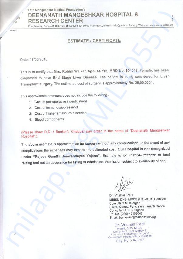Estiment for the Mrs. Rohini waikar