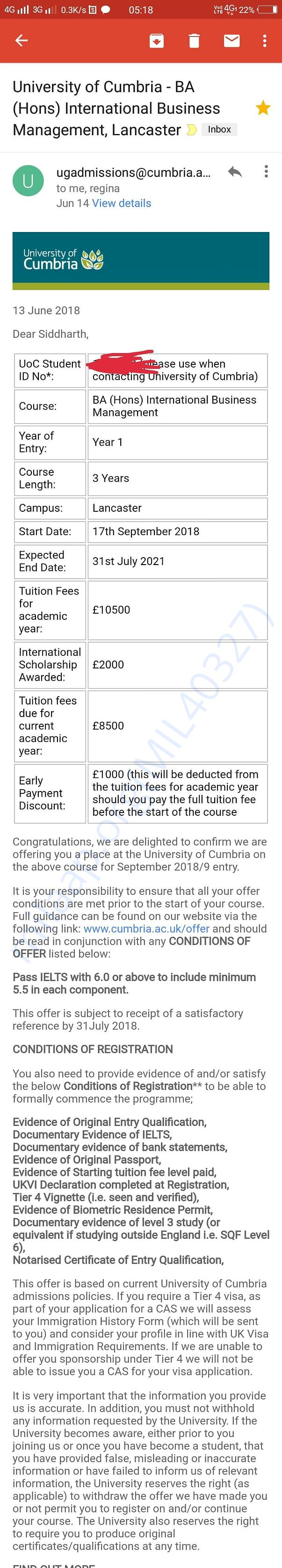 This is the screenshot of letter of offer from University