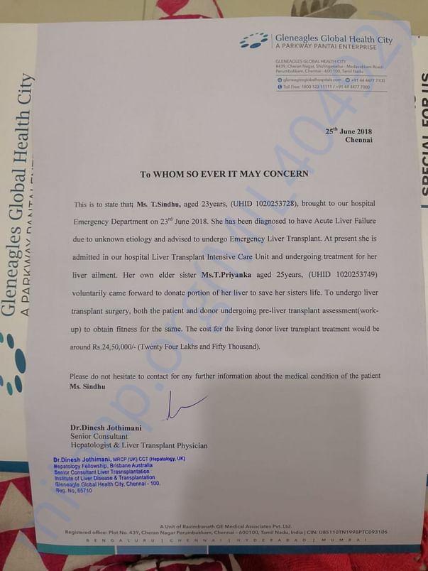 Letter From GLobal Hospital