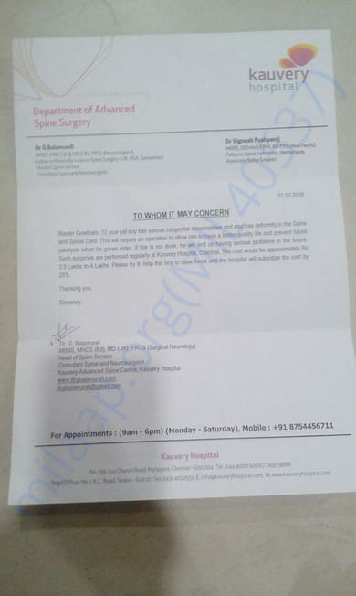 Bonafide certificate from hospital