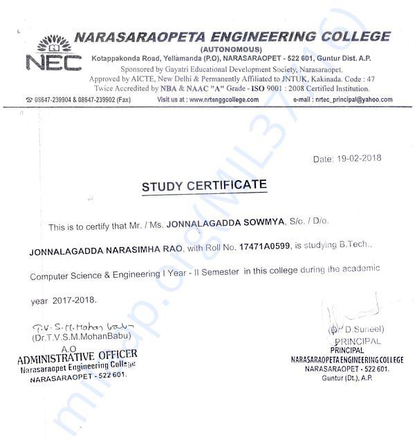 Study Certificate (B.Tech)