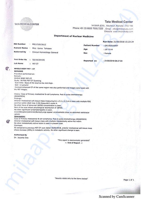 UZMA PET CT REPORT