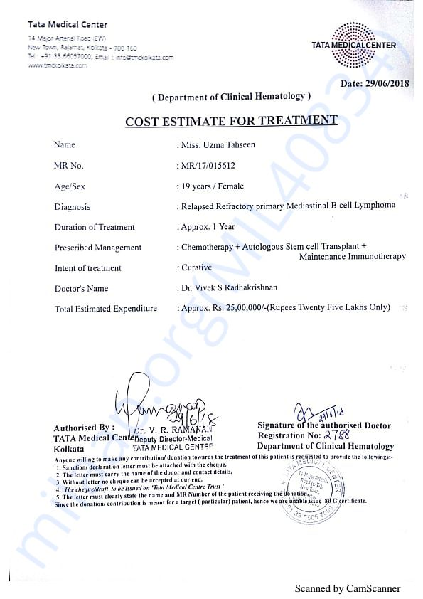 UZMA TREATMENT COST ESTIMATE
