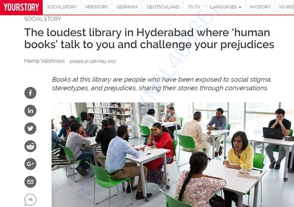 YourStory wrote about the Human Library Hyderabad