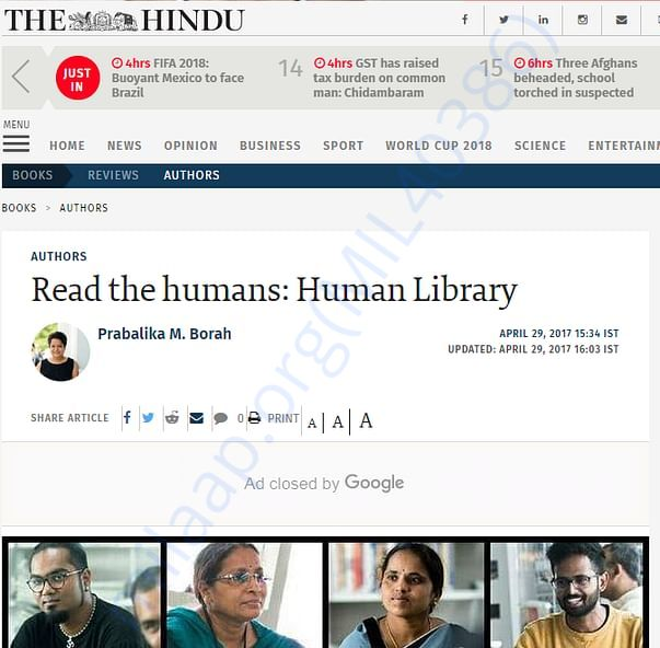 Human Library Hyderabad in The Hindu's Authors edition